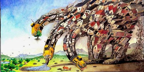 ilustracion de- esus gaban que evoca la accion del pgou en alpedrete